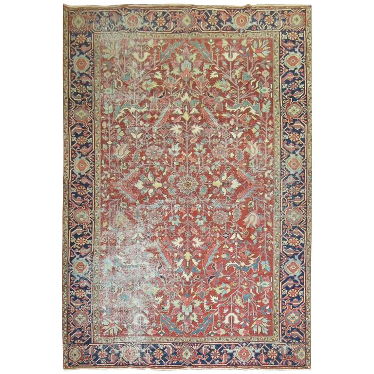 Shabby Chic Antique Persian Heriz Rug For Sale