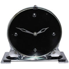 Modernist English Art Deco Chrome Clock
