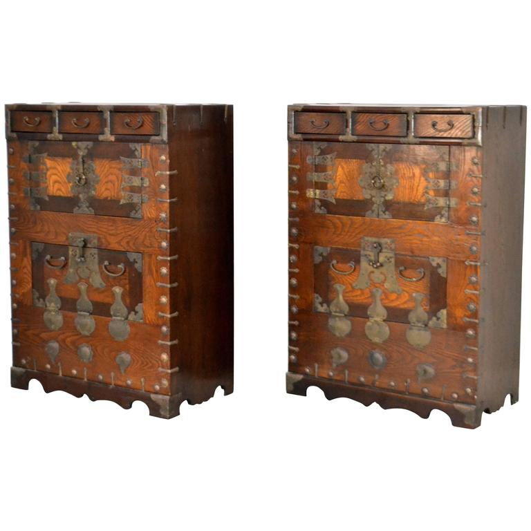 Pair of Hollywood Regency Campaign Style Side Tables For Sale