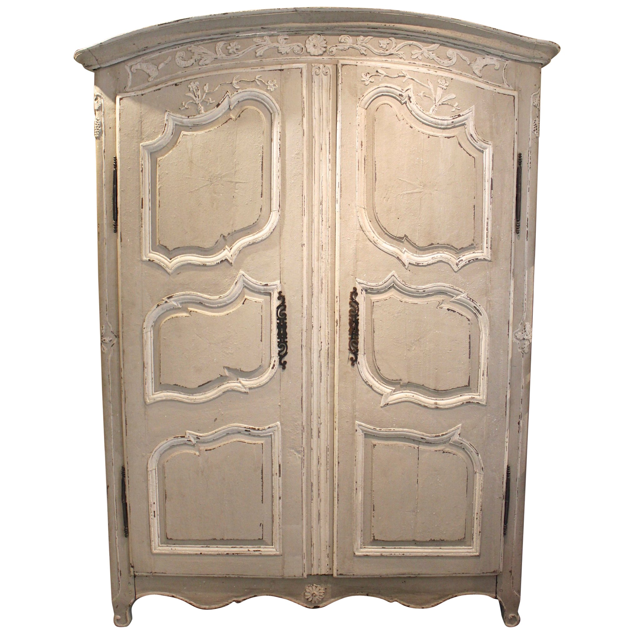 Antique French 18Th Century Louis Xv Armoire With Rare Curved