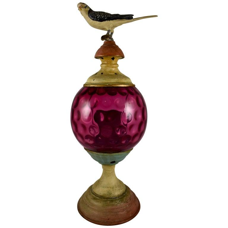 19C. Garden Candle Lantern, Cranberry Thumbprint Glass & Cast Iron Bird Finial