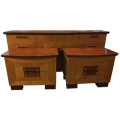 Stunning Italian Rosewood and Maple Dresser and Side Chests