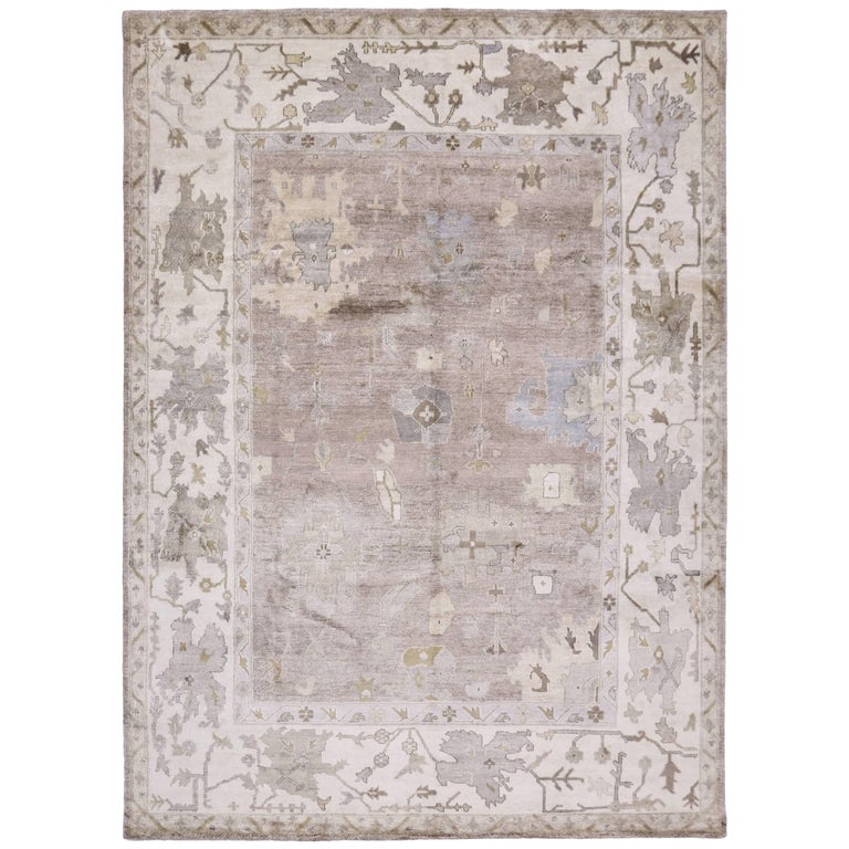 Modern Oushak Rug: Modern Oushak Style Rug With Transitional Style For Sale