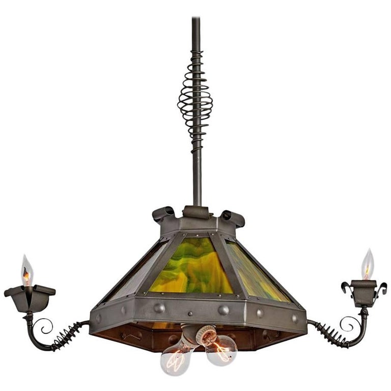 Williamson Style Wrought Entry Pendant With Art Glass