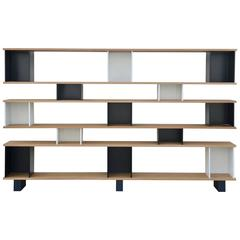 Oak, Black and White 'Horizontale' Shelving Unit by Design Frères