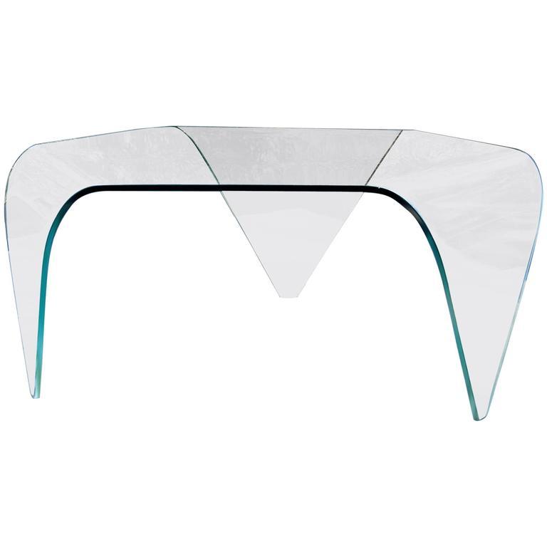 Mid Century Modern Triangular Three Legged Slumped Gl Coffee Table
