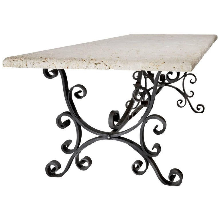 Wrought Iron Table with Coral Top For Sale