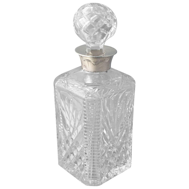 English Cut Crystal Spirits or Whiskey Decanter with Sterling Silver Collar For Sale