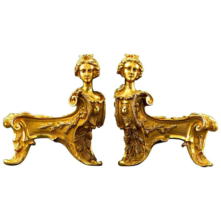 Pair of Bronze Rococo Chenets For Sale