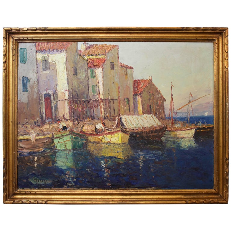 French Painting Representing a Mediterranean Port by V. Manago For Sale