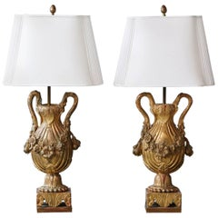 Pair of Antique Venetian Style Giltwood Urn Form Table Lamps