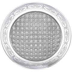 American Brilliant Cut-Glass Lace Hobnail Plate by Sinclaire
