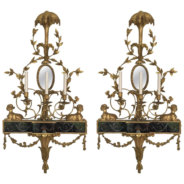 Pair of Neoclassical Wall Sconces For Sale