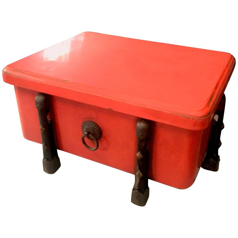 Brilliant Orange Japanese Lacquer Box with Wood and Brass Detailing