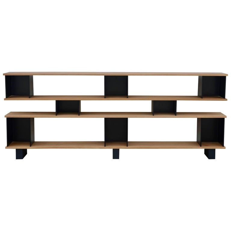 Low 'Horizontal' Matte Black and Polished Oak Shelving Unit by Design Frères 1