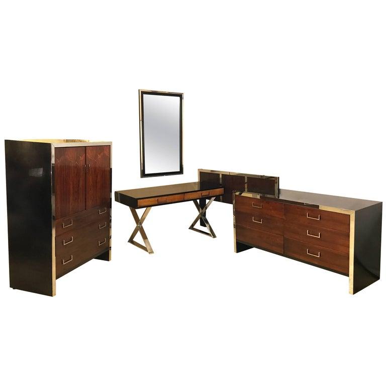 Milo Baughman for W. J. Sloane Bedroom Set Vanity, Dresser, Mirror with Bed