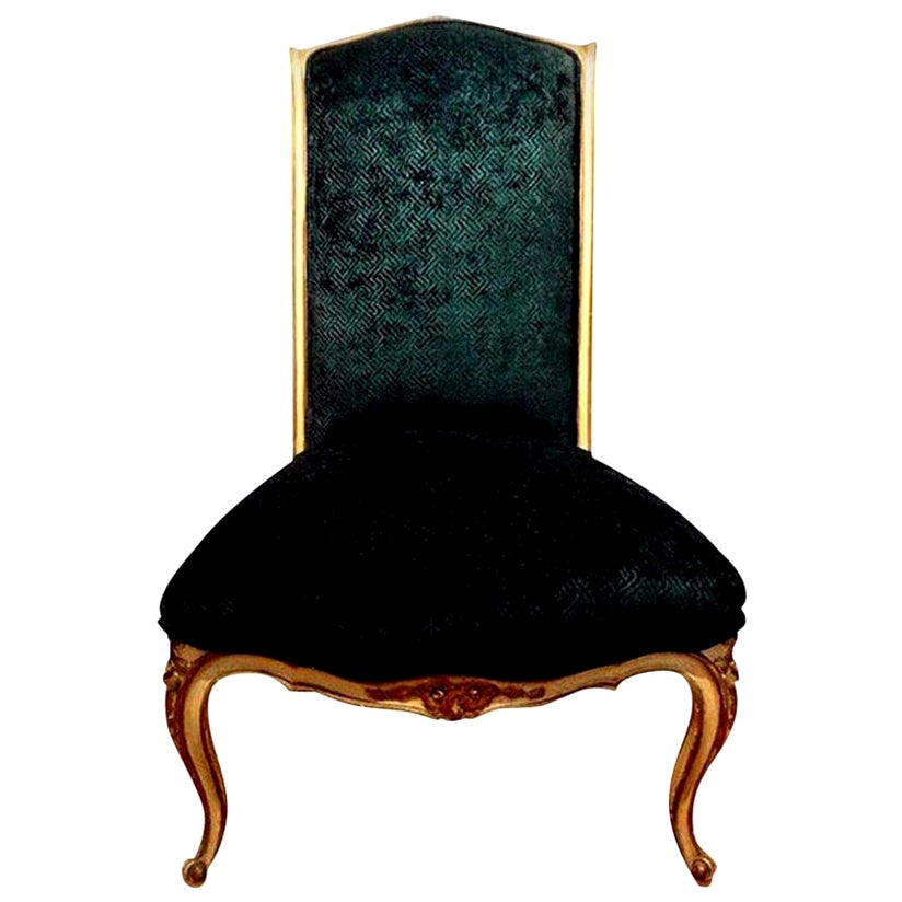 Antique French Louis XV Style Painted and Giltwood Chair