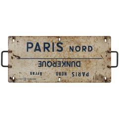 SNCF French Railway Destination Enamel Sign Plaque, Original, 1940s