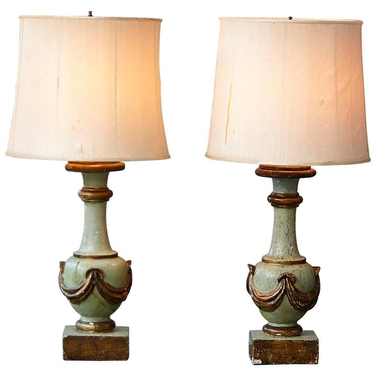 Pair of Antique Italian Hand-Painted Wood Vasiform Table Lamps For Sale