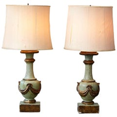 Pair of Antique Italian Hand-Painted Wood Vasiform Table Lamps