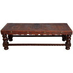 Tooled Leather Peruvian Bench or Coffee Table