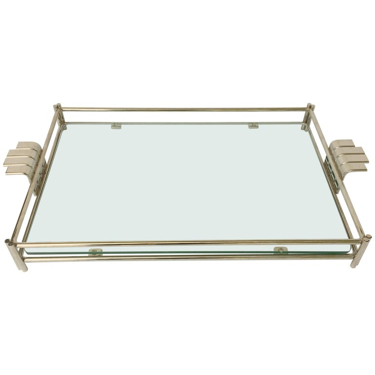 French Serving Tray of Chrome and Glass by Christian Dior 1