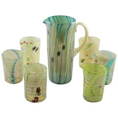 Set Green Yellow Murano Glass Pitcher with Six Tumblers
