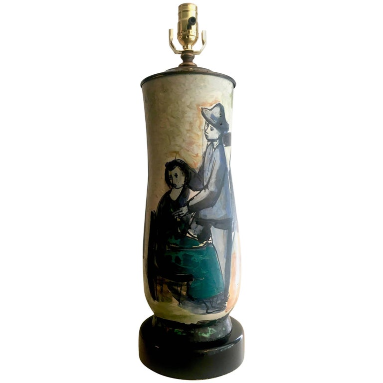 Signed Italian Hand-Painted Pottery Lamp