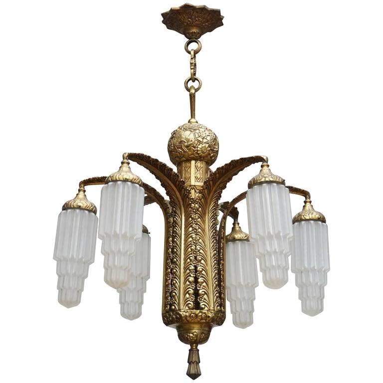Very Fine Art Deco Bronze and Glass Six-Light Chandelier For Sale