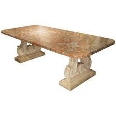 Rouge De Languedoc Marble and Carved Stone Dining Table from France, 1940s