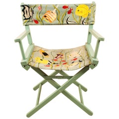 Director's Chair with Embroidered Tropical Fish Fabric