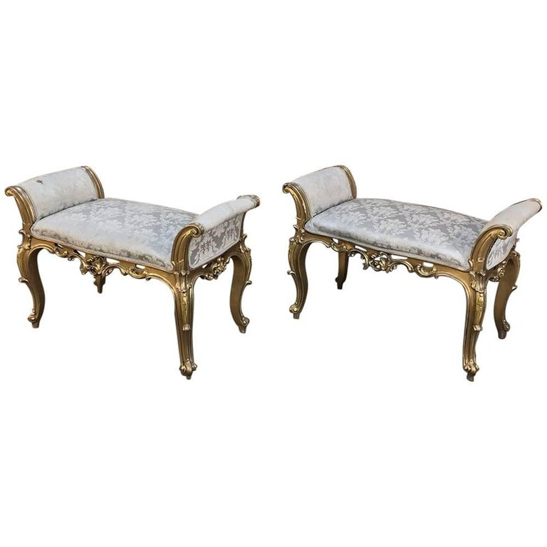 Pair of Antique Italian Baroque Giltwood Arm Benches 1