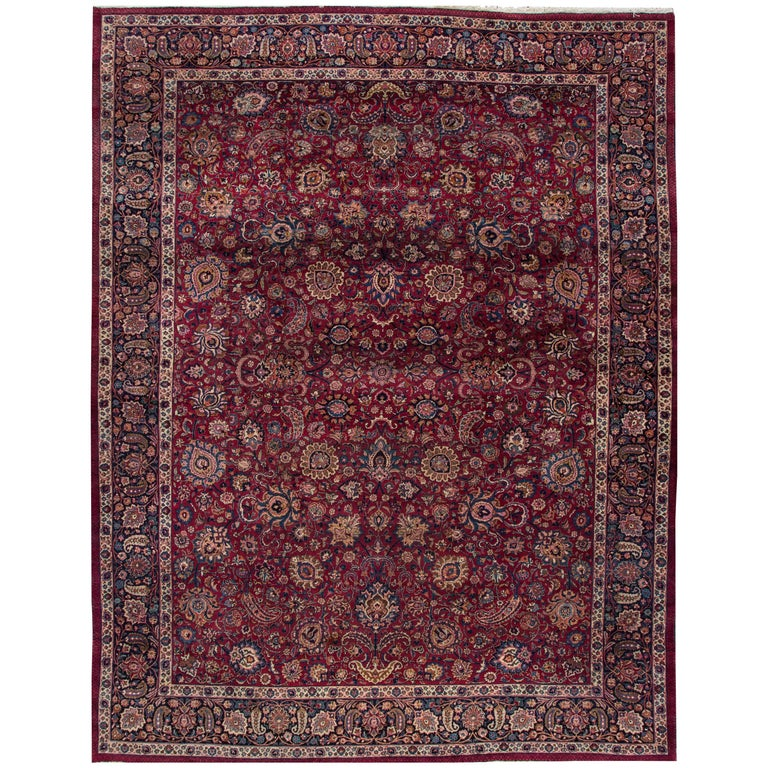 Antique Distressed Persian Mashad Rug For Sale At 1stdibs