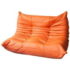 Orange Leather Two-Seat Togo Sofa by Michel Ducaroy for Ligne Roset