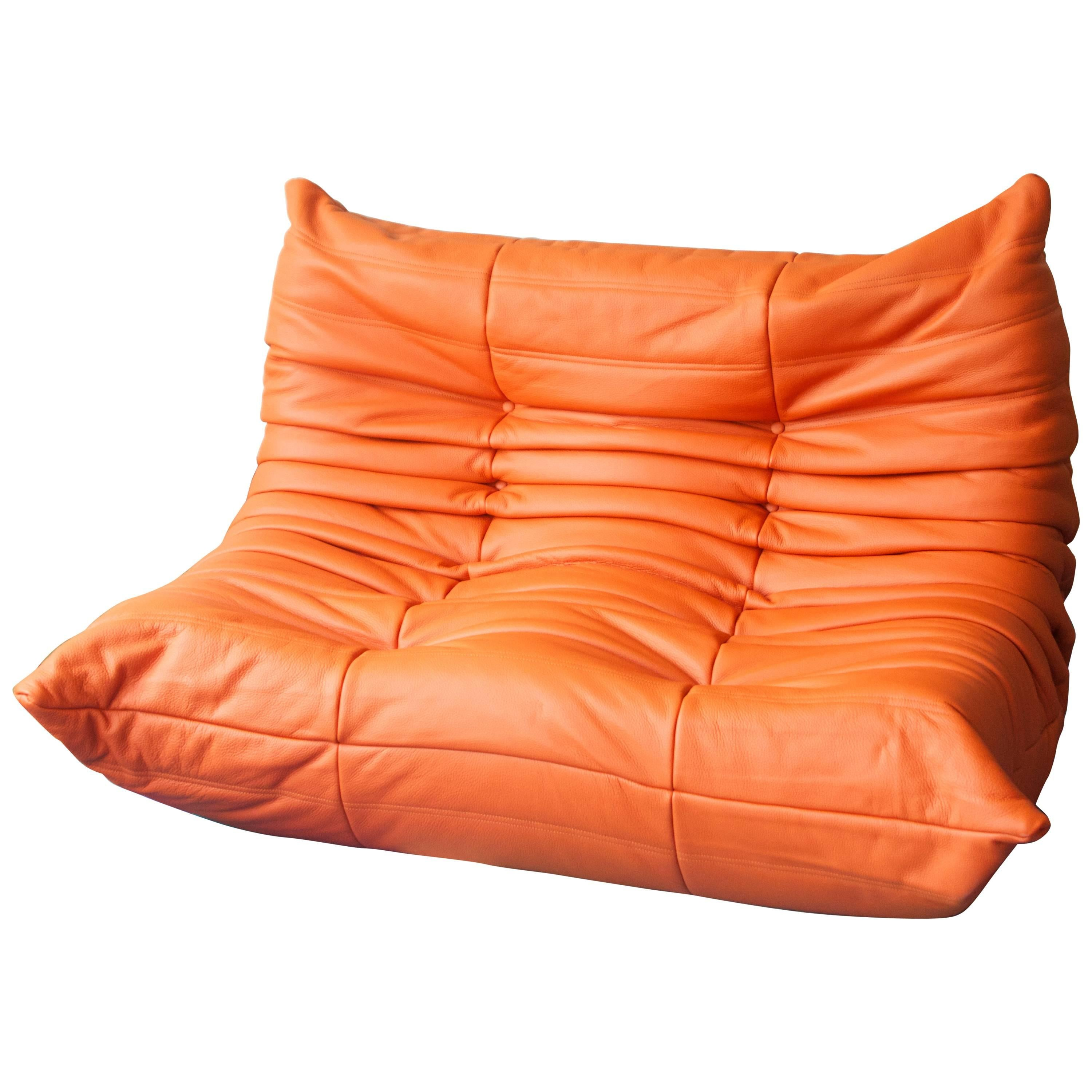 Orange Leather Two Seat Togo Sofa By Michel Ducaroy For Ligne Roset For Sale