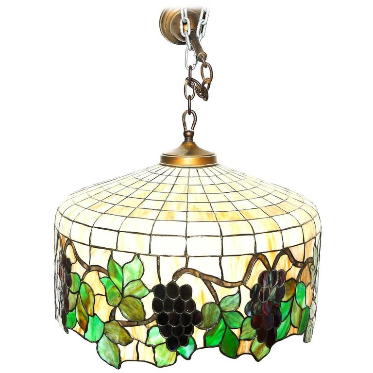 Antique Tiffany Hanging Lamp Value: Vintage Tiffany Style Hanging Light For Sale At 1stdibs