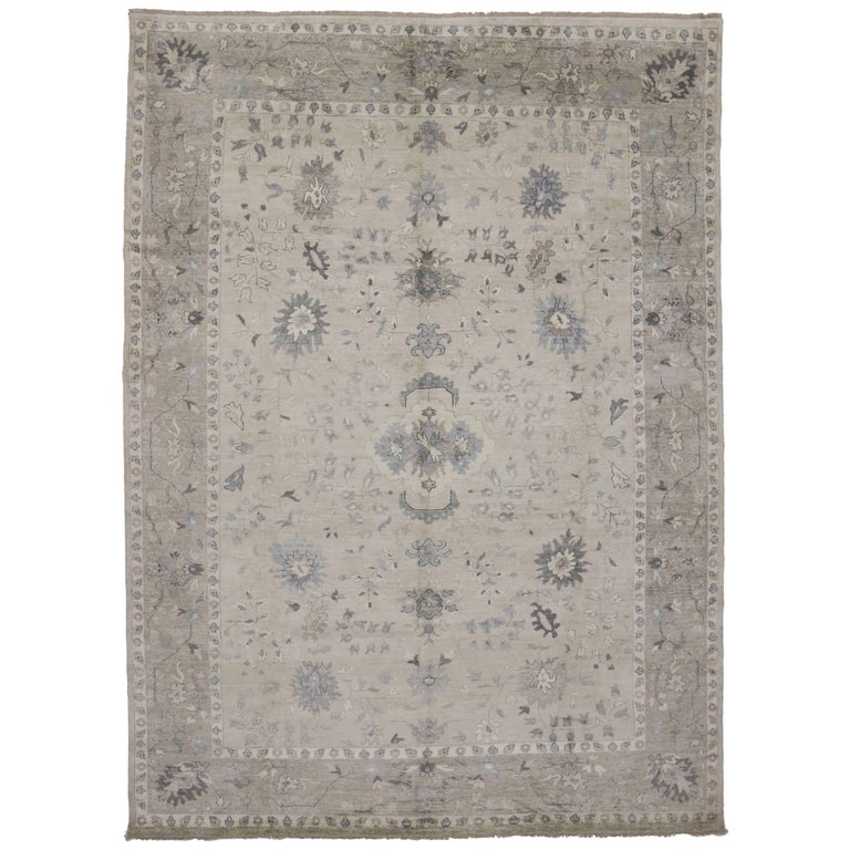 Modern Oushak Rug: Modern Oushak Rug With Transitional Style In Light Colors