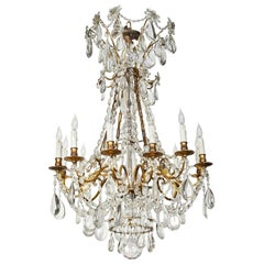 Turn-of-the-Century, Crystal and Bronze Chandelier