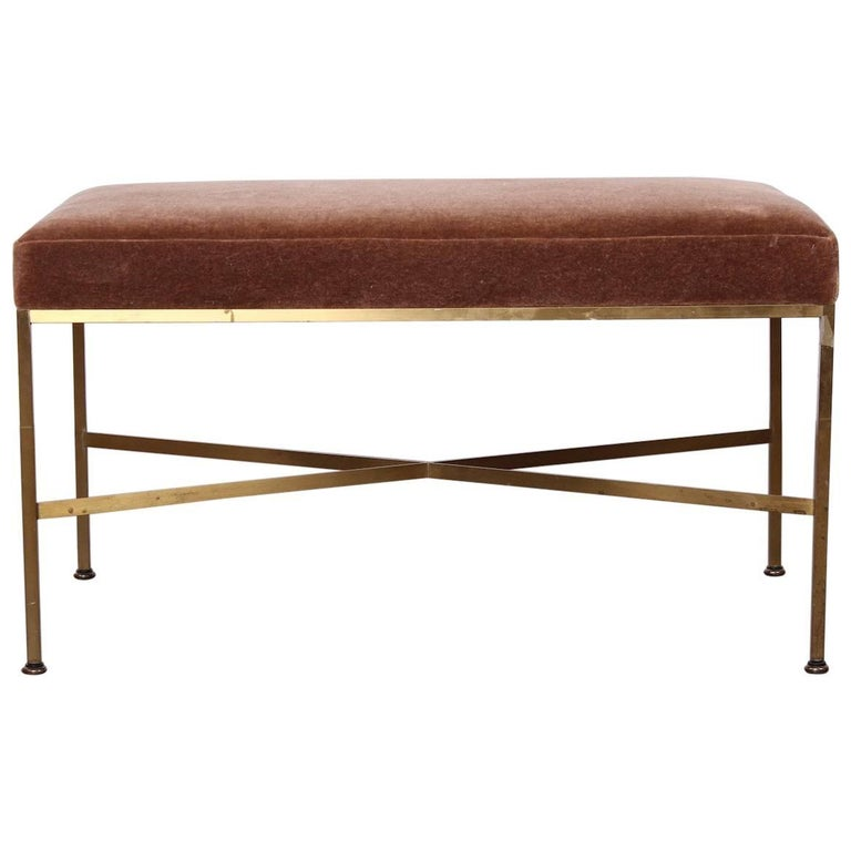 Paul Mccobb Brass X Base Bench At 1stdibs