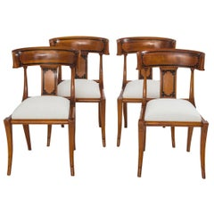 Set of Four Empire Style Cherry Wood Klismos Chair