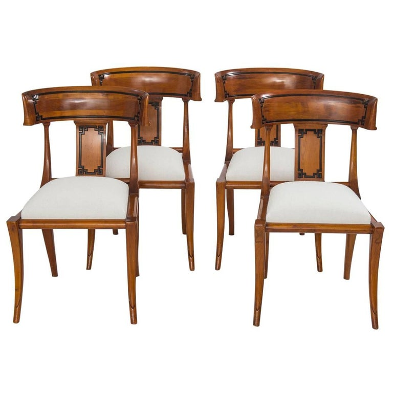 Set of Four Empire Style Cherry Wood Klismos Chair For Sale