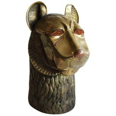 Vintage Brass Lion Head Sculpture in the Style of Chapman