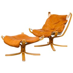 Falcon Leather Lounge Chair and Ottoman by Sigurd Ressell