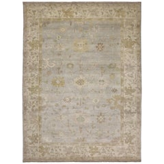 Modern Oushak Style Rug with Transitional Style in Light Colors