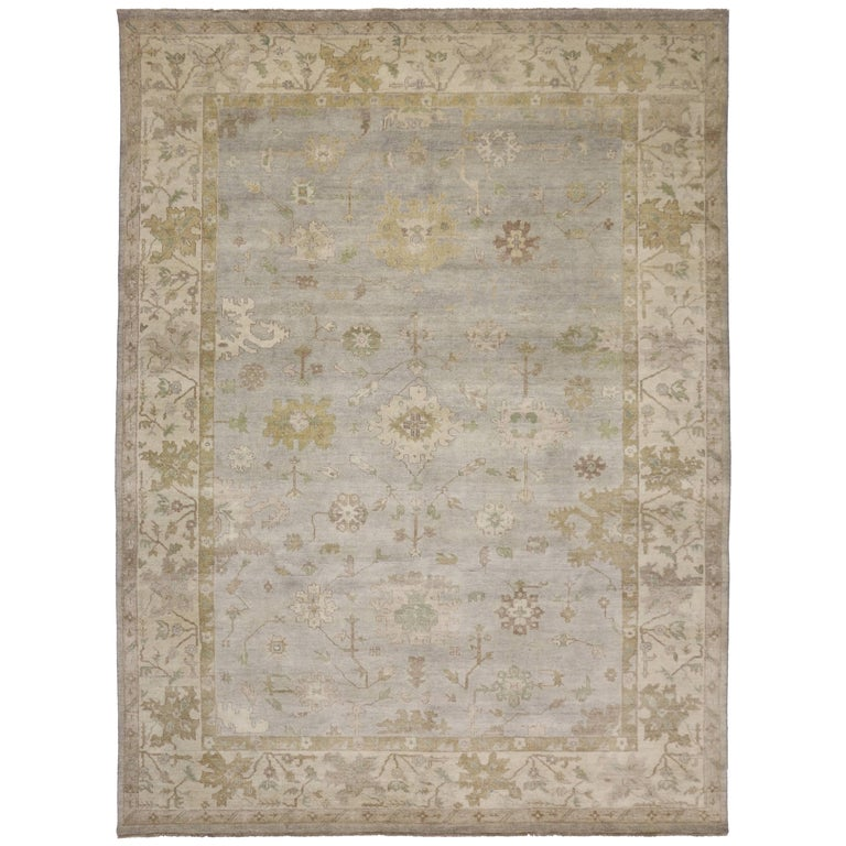 Modern Oushak Rug: Modern Oushak Style Rug With Transitional Style In Light