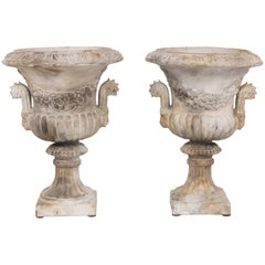 Pair of Antique Italian Neoclassical Style Terra Cotta Urns