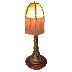 Rare and Hand-Crafted Art Deco Desk or Table Lamp with Stunning Wood Motifs