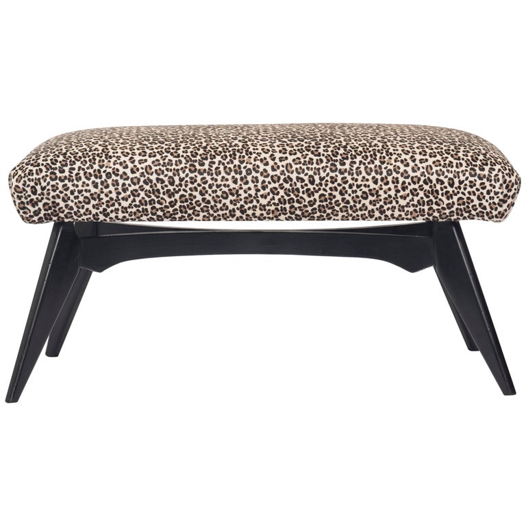 Italian Gio Ponti Inspired Bench Upholstered in Leopard Print Hair Hide 1