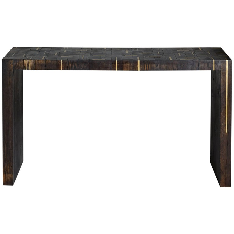 Butcher Block Console Table in Burnt White Oak with Hand-Inlaid Satin Bronze