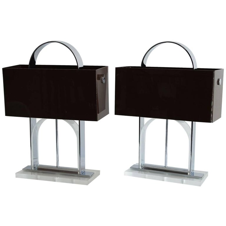 Pair of Mid-Century Modern Lucite and Nickel Lamps with Dark Brown Shades 1